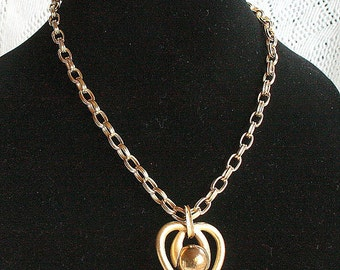 Large Puffy Gold Heart Necklace Vintage Chunky Link Chain Openwork Heart Pendant
