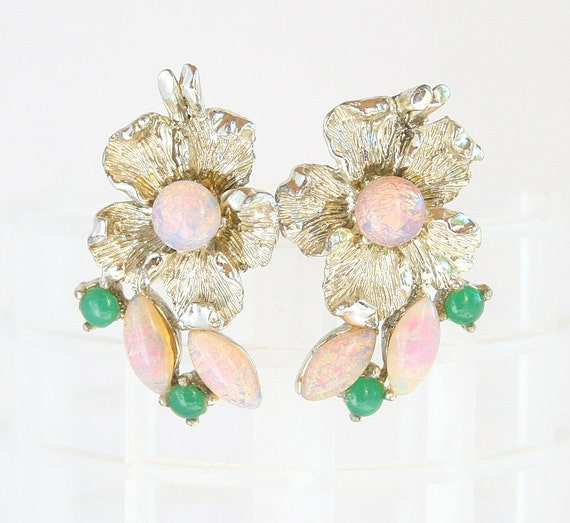 Vintage Foiled Opal Earrings Silver Pink Floral Jade Green Clip On