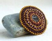 Brown Beadwork Circle Pin Beadwoven Glass Brooch Mustard Yellow Red Berry Beaded Fashion