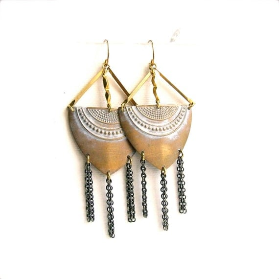White Chain Dangle Drop Statement Chandelier Earrings Patina Shield Bohemian Tribal Long Fringe Tassel Rustic Jewellery