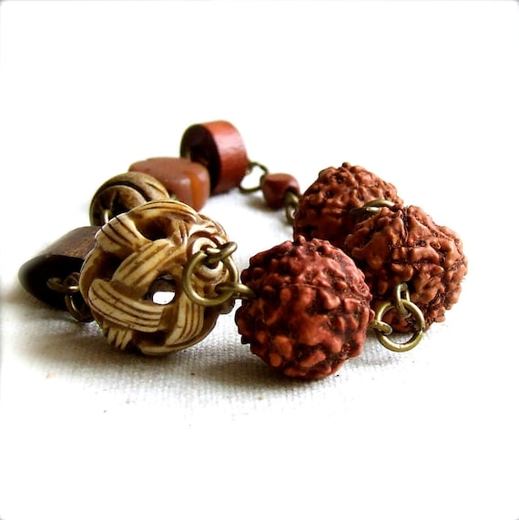 SALE - Carved Basket Weave Bone, Rudraksha Tree Seed - Bracelet - Earths Bounty -Jewellery