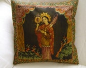 Pillow Cover - Saint in Latin American folkloric style, forest green