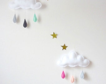 Cloud mobile Rain of colors...bright pink ,light Pink and grey....Featured on Vogue Living Australia.