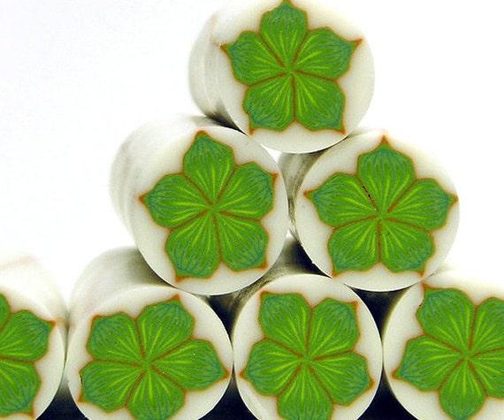Polymer clay millefiori cane - Moss Green Flower