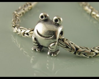 Bali Sterling Silver European Charm Bracelet Bead - large hole bead - big hole bead -  Froggy Charm Bead - S288