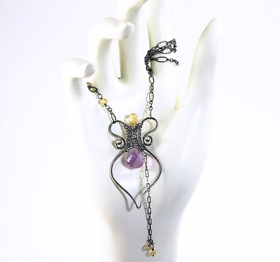 Artisan Amphora Necklace - Amethyst and Citrine in Oxidized Sterling Silver