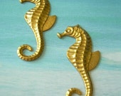 2 Vintage Brass Charms Sea Horse Drops Stampings Connectors