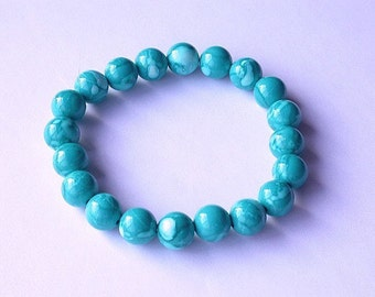 8 Vintage Lucite Beads Aqua Turquoise Watercolor Rounds 11mm