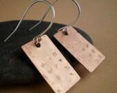 Minimal hammered metal earrings, mixed metal, copper, sterling silver