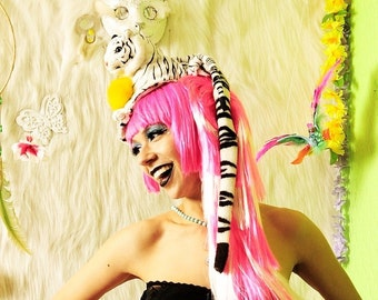 WHITE TIGER TAIL hat  / cat / millinery / fascinator  / lace / pom pom / kitty / fashion / Harajuku / headband / headpiece