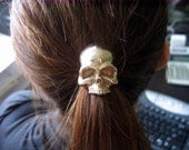 Skull Pony tail Holder Hair Tie / Necklace Solid Bronze Human Skull Ponytail Holder 052