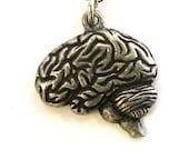 Brain Necklace Silver Anatomical Brain  Pendant necklace 160