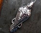 Odins Raven Necklace Ancient Silver Odin's Raven Viking Pendant Necklace 124
