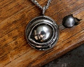 Silver Eye of the Raven Protection Amulet Necklace in Silver Plated White Bronze 055