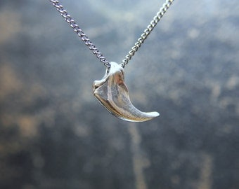 Bear Claw Necklace Solid Sterling Silver Bear Claw Pendant 020