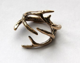 Deer Antler Ring Bronze  Antler Ring 075