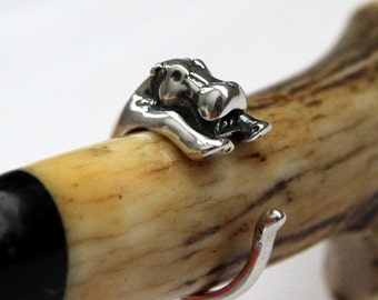 Hippopotamus Ring Solid Sterling Silver Hoop Ring Hippo Wrap Ring 047