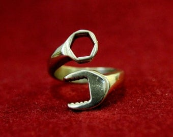 SALE -Mens Spanner Wrench Ring in Solid Bronze Spanner Wrench Ring Adjustable Wrench Ring for Men 099