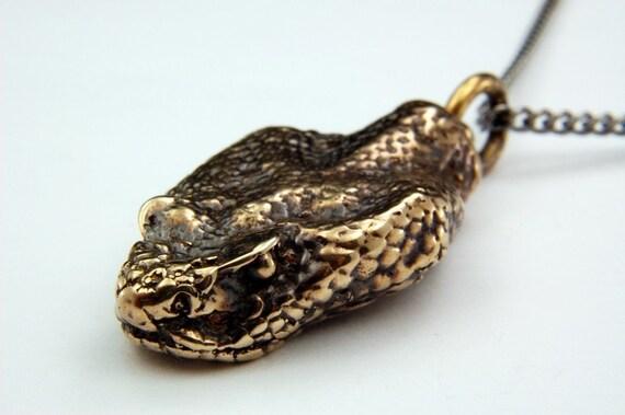Snake Head Necklace  Bronze Rattlesnake Pendant Necklace 3D Rattle Snake Head Necklace 046