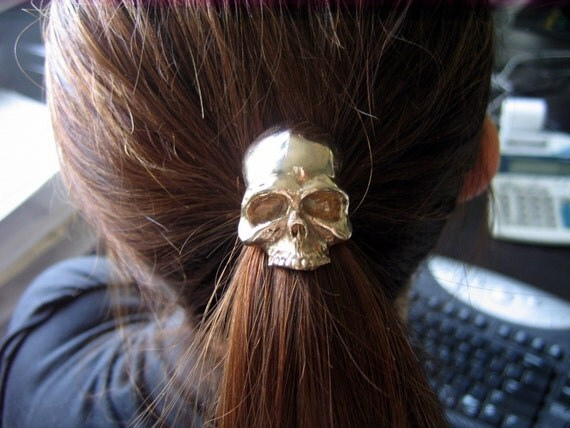 Skull Pony tail Holder Hair Tie / Necklace Solid Bronze Human Skull Ponytail Holder 052