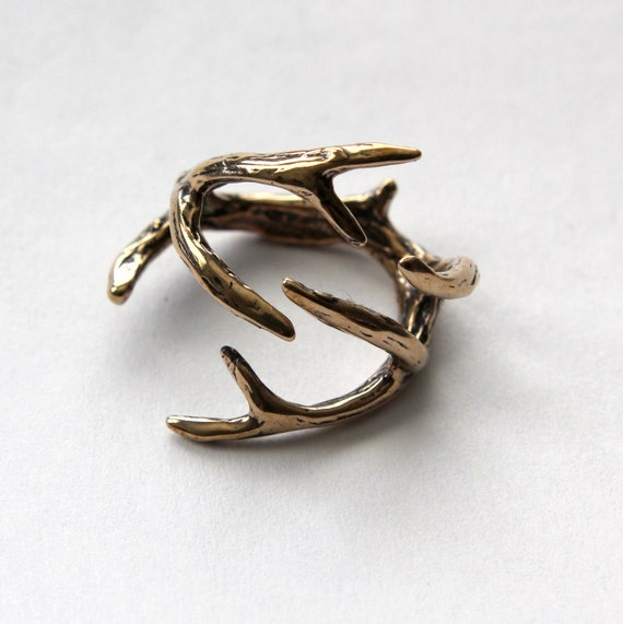 Deer Antler Ring Solid Bronze Deer Antler Statement Ring 075