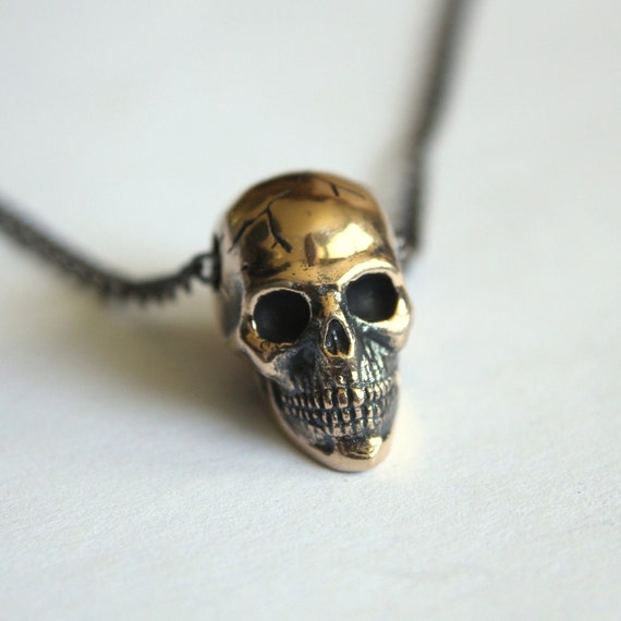 Skull Necklace Bronze Skull Pendant Necklace Human Skull necklace Charm 081