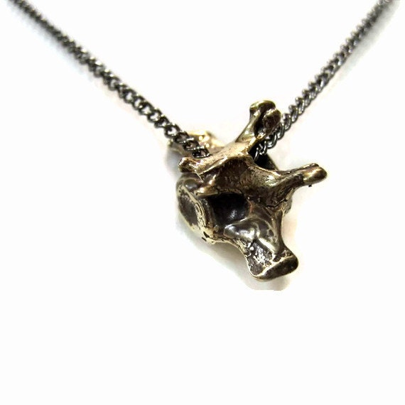 Fox Vertebrae Necklace Bronze Fox Vertebrae Pendant Necklace Fox Spine Bone 088