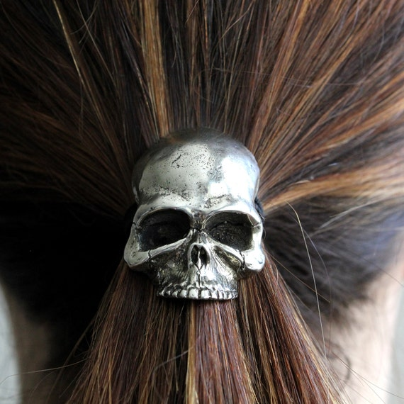 Skull Pony Tail Holder / Necklace Silver Human Skull Hair Tie 052