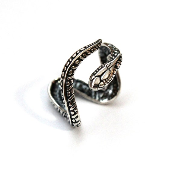 Snake Ring Sterling Silver Snake Ring Adjustable Wrap Snake Ring 069