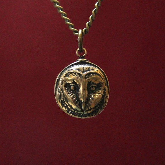Owl Necklace Barn Owl Face  Pendant Necklace in Solid Bronze Barn Owl Head 054