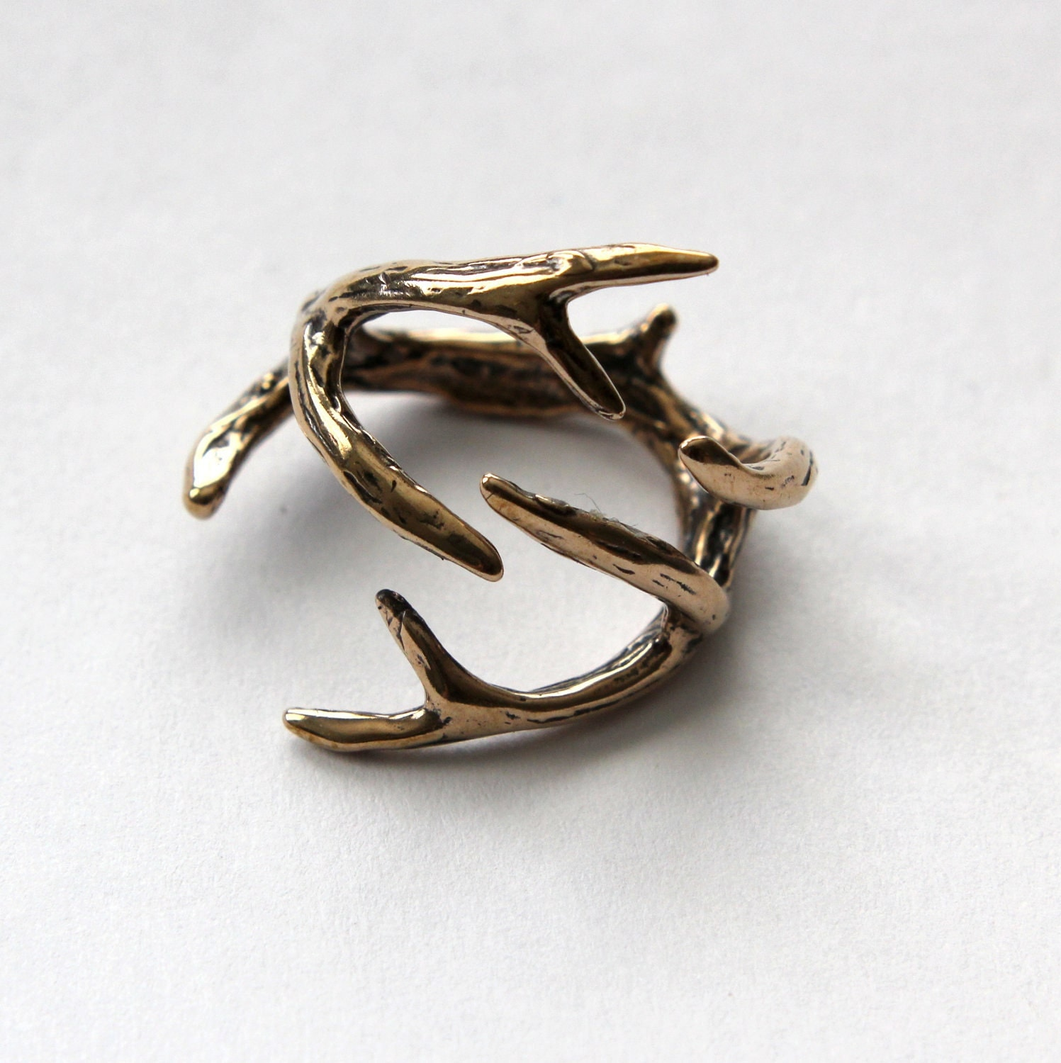 Deer Antler Ring Bronze Antler Ring 075 🔎zoom