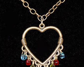 Fringed Brass Heart Necklace - Multi Colored Glass Bead Fringe - Blue, Red, Yellow, Purple, Green