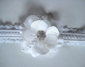White keepsake wedding garter with Venice lace and rhinestones