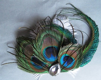 Triple peacock fascinator with ostrich feathers - rhinestone