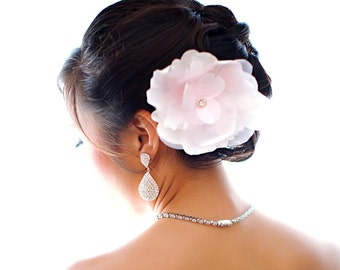 Pale pink bridal flower with feathers and rhinestones - wedding head piece