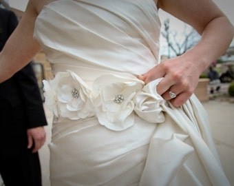 Ivory triple flower bridal sash with pearls and rhinestones