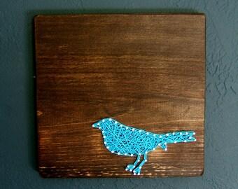 Blue Bird Silhouette- Modern String Art Tablet