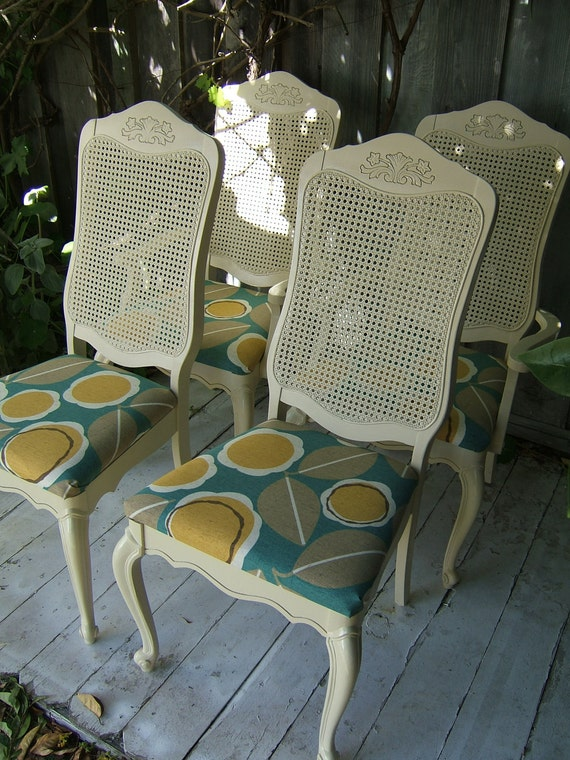 REDUCED - Cream Wicker Back Chairs with Modern Teal Print - Set of 4