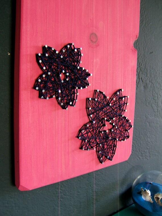Modern String Art Wooden Tablet - Sakura Flower on Fuschia