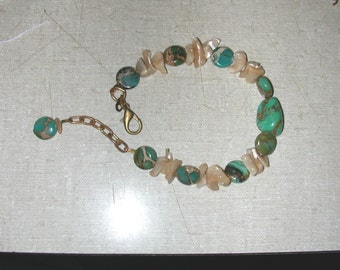 Bracelet of Aqua Terra Jasper Brown Mother of Pearl and Turquoise Focal