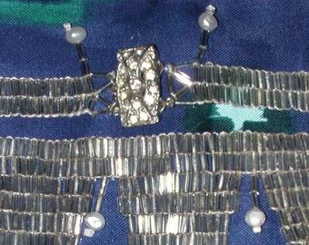 Beaded Necklace like Silvery Liquid Glass Tube Peyote Stitch
