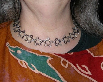 Delicate Night Star Necklace in Tube and Seed Beads of Silvers Grays Sterling and Black
