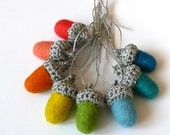 Rainbow Silver felted acorns set of 8 wool ornaments gift Birthday party decoration children bedroom garland Weddings favors