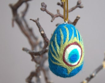 Easter ornament felted wool egg peacock feathers teal olive spring woodland tree ornament decoration gift for her Mother peacock lover
