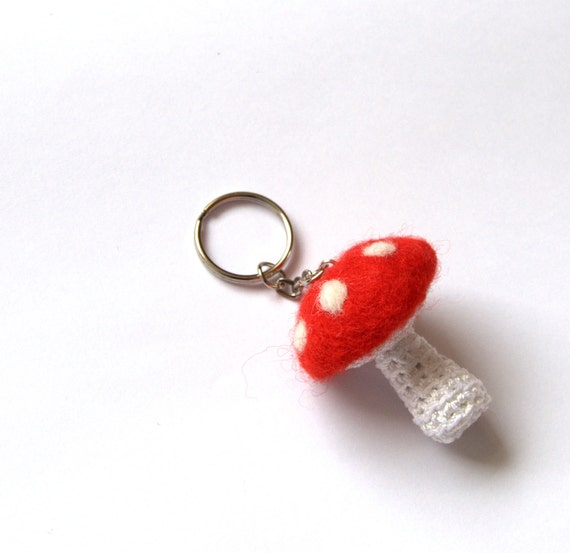 Mushroom keychain keyring felted crochet mushroom Alice in wonderland red wtite polkadots bag charm gift Birthday handmade decor