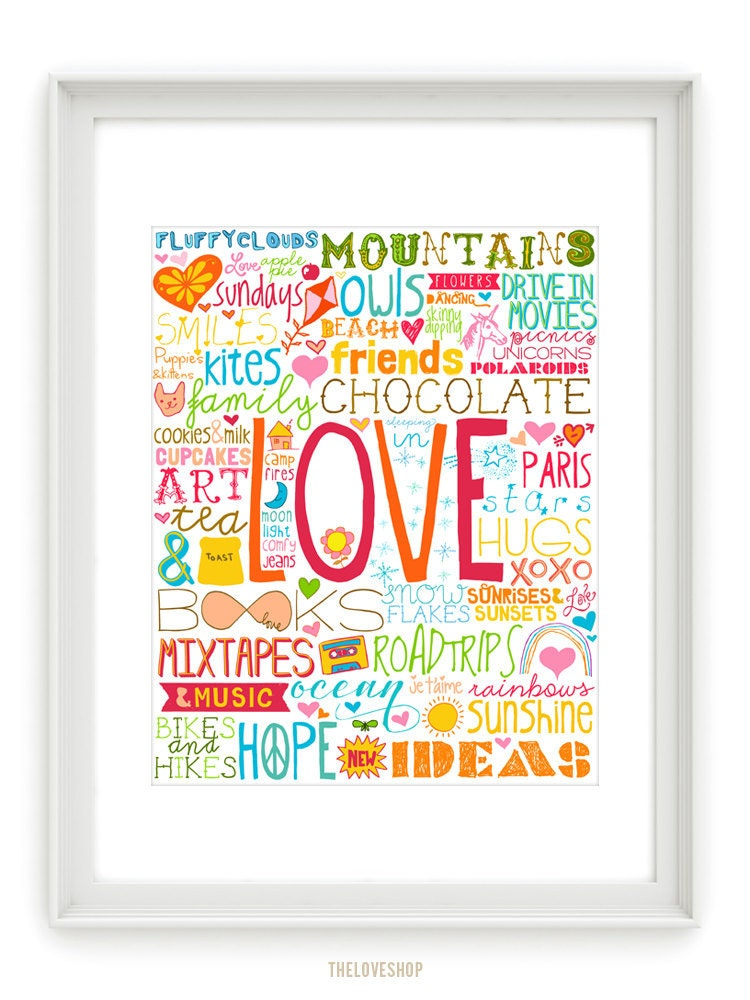 50 Reasons To Be Happy 8x10 Inch Print On A4 By Theloveshop