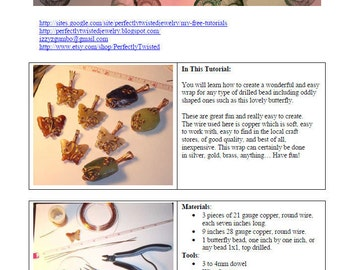TUTORIAL Jewelry, Copper Butterfly Wire Wrap Pendant, Making Jewelry, Beginner Project