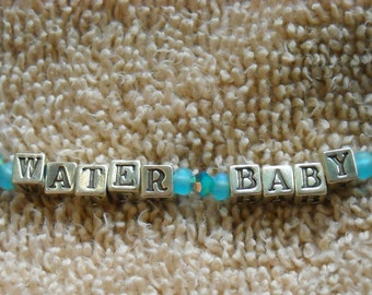 WATER BABY Kid's Necklace With Sterling Silver Block Letters Beaded With Czech Glass & Swarovski Crystals   -On Sale-