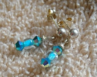 DROPLETS Kid's Earrings With Swarovski Crystals & Czech Glass On Sterling Silver Posts   -On Sale-