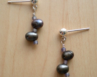 STORM CLOUD Earrings With Freshwater Pearls & Seed Beads On Sterling Silver Posts
